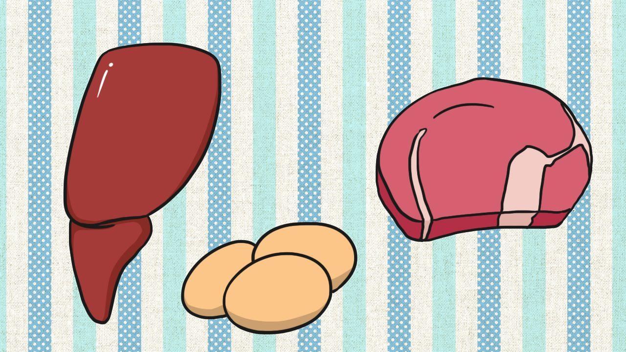 ธาตุเหล็กมีมากในตับเลือด เนื้อสัตว์และไข่